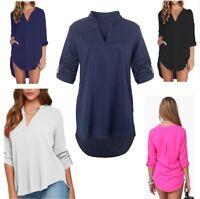 Women Blouse Chiffon Long Sleeve Ladies T Shirt Casual Loose Short Dress Tops-Cs