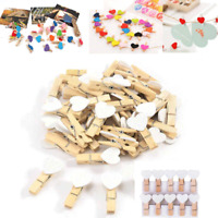 10/100Pcs Multi Color Mini Love Heart Wooden Clip Pegs Picture Christmas Wedding