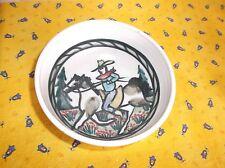 "Debbie Dean Pottery Cereal Bowl, Cowboy & Banding Marks, 5.5""D, Multi Color"