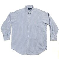Ralph Lauren Mens Size 16.5 inch Collar Blue and White Stripe Classic Fit Shirt