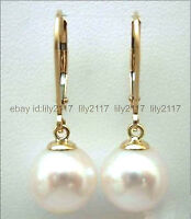 Beautiful AAA 10MM natural south sea round white pearl 14K gold dangle earrings