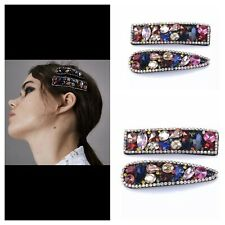 Pair of ZARA Hair CLIPS Featuring Multicoloured Rhinestones