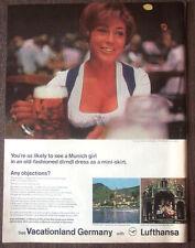 "Print Ad 1968 Lufthansa Airlines Munich Girl in Drindl Dress 10.5""x14"" VG+"