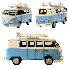1966 tin plate model Kombi Camper Van in blue and white with surfboards