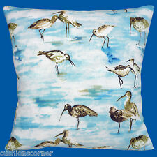 "BRAND NEW Sandpipers Seabirds Water Pond Feeding Cotton 16"" Pillow Cushion Cover"