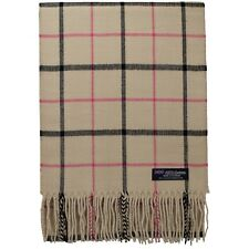 New Cashmere Scarf Beige Camel Black Big Nova Check Tartan Plaid SCOTLAND Unisex