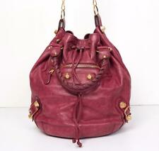 BALENCIAGA Womens Motocross Giant 21 Pompon Bag Fuchsia-Leather Gold-Studs Purse