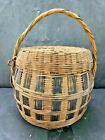 OLD VINTAGE RARE UNIQUE SHAPE WOODEN HANDCRAFTED BAMBOO KNITTED BASKET
