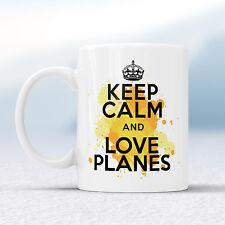 Keep Calm And Love PLANES Splash Mug Gift Airshow Aviation Geek Cup Present