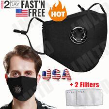 Cotton Washable/Reusable ANTI-FOG Respirator Vent Face Mask + 2 PM2.5 Filters