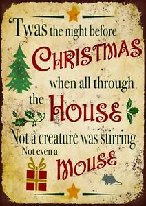 Twas the night before Christmas metal wall sign