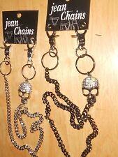 "LoT: 22"" Jeans Chain w/Rhinestone Diamond Studded Skull 1 Silver Color 1 CoprBro"