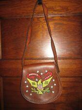 Vintage 1970 Brown Leather Shoulder Purse Handbag Beaded American Eagle