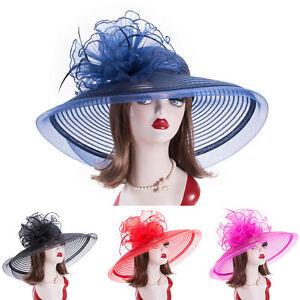 Womens Floppy Dressy Wide Brim Church Wedding Kentucky Derby Bridal Sun Hat A582