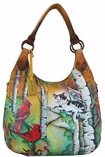 NWT Anuschka Country Cat Large Shoulder Hobo Bag, Genuine Leather 514-CCT