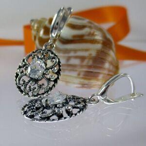 A070 Ohrringe 925 Sterling Silber Schmuck mit Kristall Steine Jugendstil