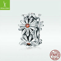925 Sterling Silver Charm Bead Delicate Daisy Pendant Fit Lady Bracelet Chain