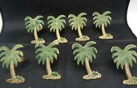 8 Kemp Beatley Style Tropical Paradise Brass Green Palm Tree Napkin Ring Holders