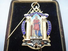 1930 RECTITUDE LODGE No 5271 SILVER & ENAMEL FOUNDERS MASONIC MEDAL IN ORIG BOX