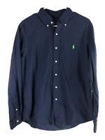 Ralph Lauren Button Down Shirt Mens Large Blue 100% Cotton Long Sleeve