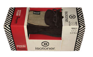 Men Isotoner Memory Foam3M Thinsulate Slippers Size  Large 9.5 - 10.5 NEW Brown