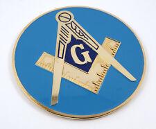 "Mason Masonic auto emblem  3"" Metal gold plated with blue paint car decal MAS18"
