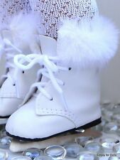 "WHITE Doll ICE SKATES w/ Faux Fur Trim SHOES fits 18"" AMERICAN GIRL DOLL"