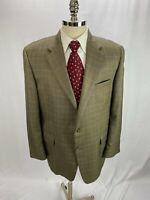 Hickey Freeman Men's Brown Windowpane Silk Wool Cashmere Blend Blazer Jacket 44R