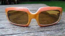 60s Cool & Mod Orange & White Vintage Plastic Framed Sunglasses Made in France