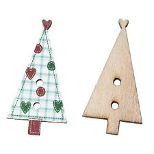 50PCs Wooden Buttons Natural Christmas Trees Shaped Heart Green Grid 3x1.5cm