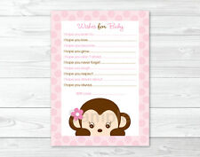 Mod Girl Monkey Jungle Safari Printable Baby Shower Wishes for Baby Advice Cards