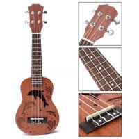 "21"" Wood Soprano Ukulele Uke Sapele 15 Frets Concert Musical Hawaiian Guitar  A"