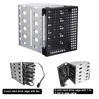 Hard Drive Caddy Cage Rack 5.25'' to 5x 3.5'' SATA SAS HDD Tray Bracket Case