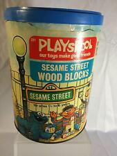 Vintage Sesame Street Playskool Wood Blocks Toy Complete with Can 1975