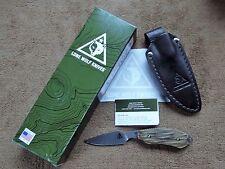 Benchmade Lone Wolf Mountainside Caper Wood Handle Leather Sheath 40035-100 NIB