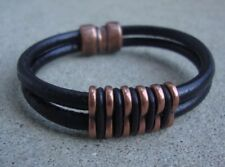 Men's Women's Unisex Genuine Leather Bracelets Antique Copper Magnetic Clasp USA
