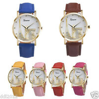 Vogue Fashion Women Lady Eiffel Tower Dial Faux Leather Band Quartz Wrist Watch