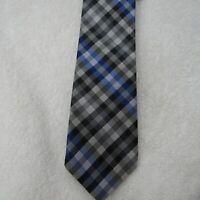 Ben Sherman Tie 100% Silk Check Necktie Blue White Black Checkered