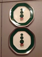 """Mikasa Topiary Platinum Holiday Christmas  Accent 9 """" Plates L3284"""