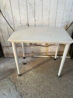 Vintage White Painted Teak Side End Coffee Table on Castors