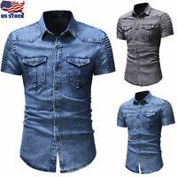 Men's Short Sleeve Jeans Shirt Casual Slim Fit Button Down Denim Tops Blouse USA