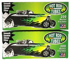 2x Boxes Hot Rod Menthol KING SIZE  ( 400 Tubes )  Cigarette Tube Tobacco Green