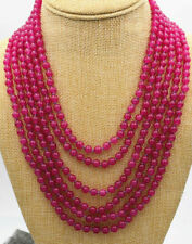 Charming 6 rows 6mm Natural Rose Red jade Gemstone Round beads necklace 17-22''