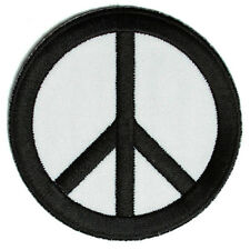 Embroidered CND Symbol Peace Black on White Sew or Iron on Patch Biker Patch