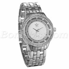Men's Fashion Luxury Shiny Rhinestone Stainless Steel Band Quartz Wrist Watch
