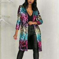 Women's Cover Up Long Sleeve Sequins Metallic Open Front Cardigan Coat Jacket