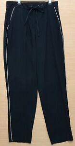 "F & F Ladies Polyester Tie Cord Black White Trim Trousers Size UK 10 I/L 28"""