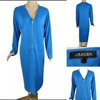 JAEGER Women Blue Dress Size L Large UK 16 Long Sleeve Zip Brilliant Condition