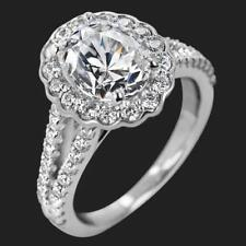1.3 Ct Floral Moissanite Off White Oval Cut Halo Engagement Ring 9K White Gold