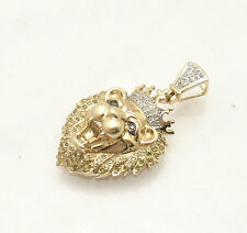 0.50 tcw Genuine Diamond King Lion Head Charm Pendant Real 10K Yellow Gold